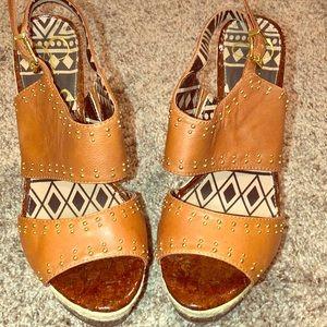 Jessica Simpson Brown Geno Wedge Sandal